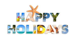 Graphic words towish good holidays in french language